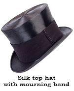 Silk top hat with mourning band